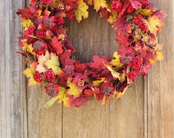 Fall Wreath, Fall Leaf Wreath, Red Leaf Wreath, Autumn Wreath, Fall Floral Wreath, Maple Leaf Wreath, Mum Wreath, Front Door Wreath