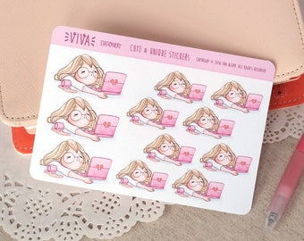 Kawaii Girl Decorative Stickers: Working extra hours, tired, bored ~Valerie~ For your Life Planner, Diary, Journal, Scrapbook...