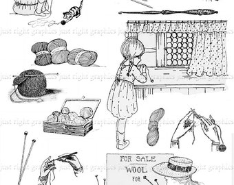 Crochet Knitting Digital Collage Sheet Scrapbook Logo Clip Art Journal Tags
