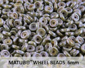 10 g Chalk Safari Czech Glass Wheel Beads 6 mm (8977)