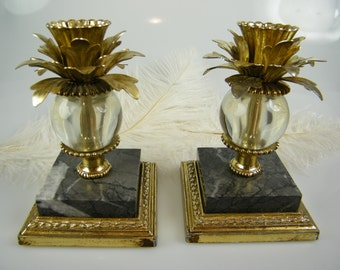 SALE Candle Holders / Vintage Candlesticks / Marble & Gold Tone metal and glass Candle Holders / set of 2