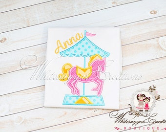 Girls Carousel Shirt - Merry Go Around - Pink Pony - Baby Circus Outfit - Custom Embroidered Shirt