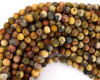 """8mm matte natural crazy lace agate round beads 15.5"""" strand 39208"""