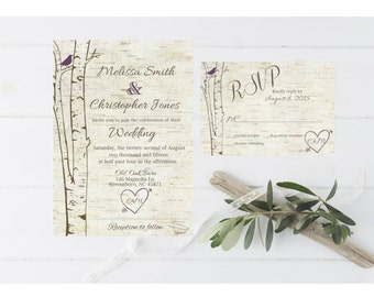 Birch Tree Rustic Wedding Invitation with , Simple Casual, Digital File or Printed  Rustic Birch Wedding Invitation and Response Card #4005