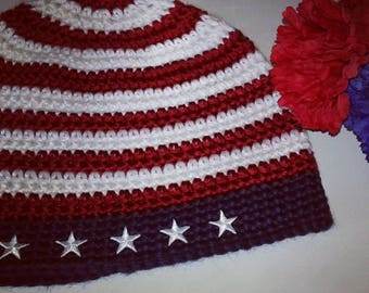 Patriotic beanie, #red white blue beanie,americana beanie, stars and stripes beanie,ready to ship
