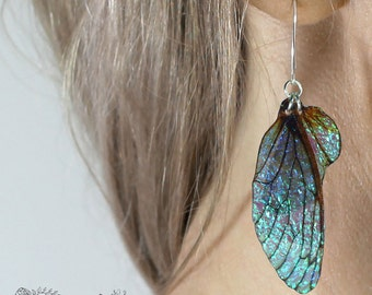 Medium midnight blue fairy wing earrings. Iridescent faerie wings on handmade sterling silver ear wires. Magical faery fae jewellery