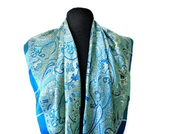 Large Blue White Paisley Scarf, Large Square Ladies Scarf, Paisley Pattern Scarf, Blue  White Scarves, Polyester, Laike Satin, 35''/89cm
