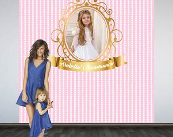Holy Communion Photo Backdrop- Photo Booth Backdrop-First Communion Photo Backdrop, Religious Party Backdrop, Pink and White Backdrop