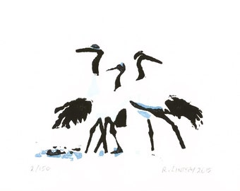 Japanese cranes original linocut print (A6) - limited edition