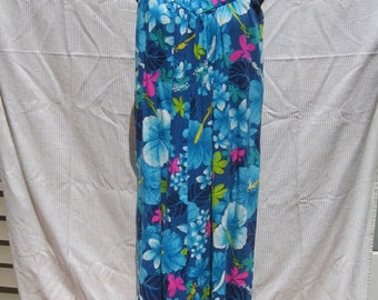 Royal Hawaiian Blue, Bark Cloth Weave, Yoke-Front, Dress: Size 12