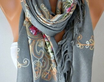Mother's Gift,Gray Embroidered Scarf,Wedding Shawl,bohemian,Bridesmaid Gift,Bridal Scarf,Gift for Her, women Fashion Accesssories,Oversized