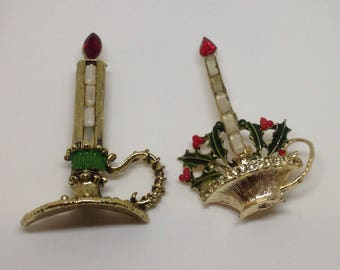Large Vintage Christmas Candle Dress Pins