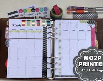 PRINTED Monthly Planner, 2018, Dated, Monthly Planner Inserts, MO2P, A5, Half Page, Monthly Calendar, Filofax, Kikki K