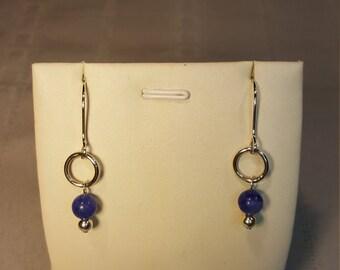 Stering Silver & Blue Agate Earrings