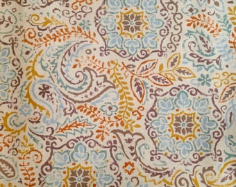 """Waverly """"Discs"""" Fabric by the Half Yard, Screen Print, Leaves, Multicolor"""