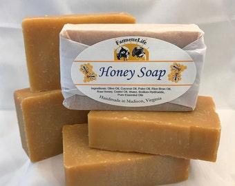 Honey Soap,  Handmade Natural Honey Soap, Cold Process Soap, Raw Honey Soap