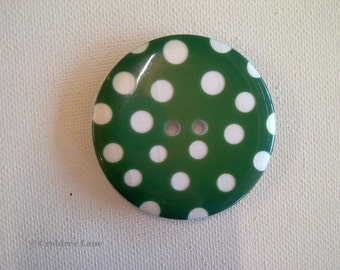 Giant Green Spotty Button - Nylon - 2 Hole - 50mm - Size 80L - Retro Sewing Craft Accessory
