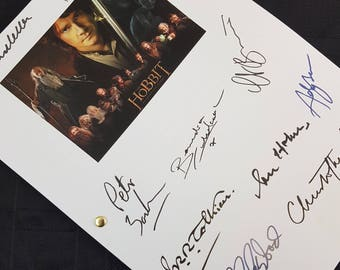 The Hobbit Film Movie Script with Signatures / Autographs Reprint Unique Gift Christmas Xmas Present TV Fan Geek Lord of the Rings Tolkien