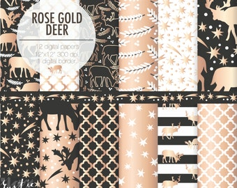 New Year deer digital paper. Rose gold, black, white decoration digital papers. Stars, quatrefoil, stripes, christmas tree branches
