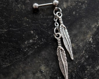 Double Feathers 18g , 16g , or 14g (1mm , 1.2mm , 1.6mm) Cartilage Ear Stud Barbell Piercing Jewelry