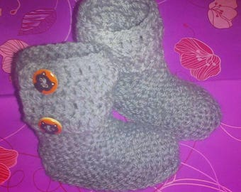 Booties-UGG style ankle boots grey baby booties, crochet baby shoes