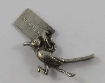 Road Runner With New Mexico Tag Sterling Silver Vintage Charm For Bracelet