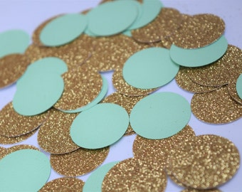 Mint and Gold Confetti, Mint and Gold Party Decorations, Mint Engagement Party Decorations, Baby Shower Decorations, Bridal Shower Decor