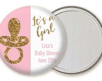 It's A Girl Gold Glitter Pacifier - Baby Shower Compact Mirror Favor - Personalized Custom Pocket Handbag Mirror Small  Party Gift