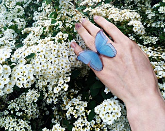 """Ring with blue butterfly """"Pure Sky"""", Blue butterfly ring, Blue butterfly on the ring, Blue ring, Butterfly-ring, Blue butterfly"""