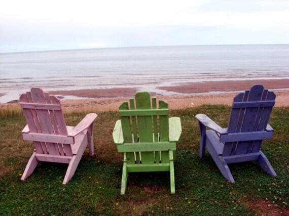 Beach Chair Card Blue chair green chair pink chair by the
