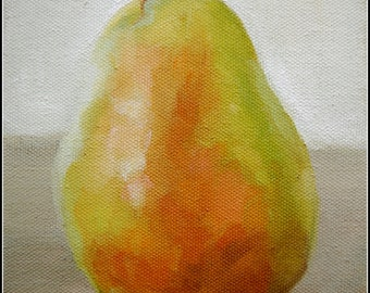 EXAMPLE ONLY. Pear, 5x7 Oil Painting, Fruit, Still Life, Handmade, Green