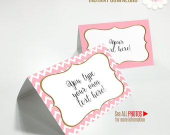 Printable tents, Valentine's food tents, Valentine's template, Instant download, Self editable PDF A256-T
