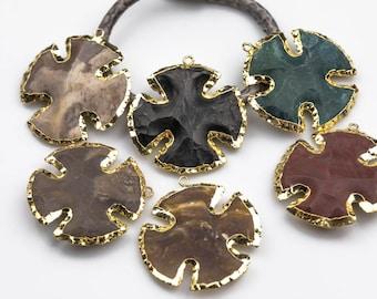 Stone Jasper Crosses Gold Bezel Wrapped - 40 and 50mm - Arrowhead Cross