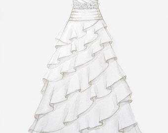 Custom Wedding Dress Illustration w/ swarovski crystal accents