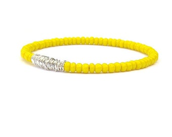 Beaded Bracelet / Eco-Friendly Jewelry / Yellow Seed Beads / Silver Bracelet / Guitar String Bangle Bracelet / Bridesmaid Gift / Friendship