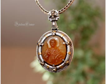 Cameo pendant * St. Demetrius *, Hand-carved carnelian cameo, Handmade cameo pendant, Gemstone jewellery, Birthday gift, Wedding gift