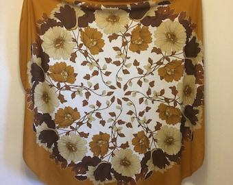 Vintage Tablecloth, Brown Tablecloth, Floral Tablecloth, Large Round Tablecloth