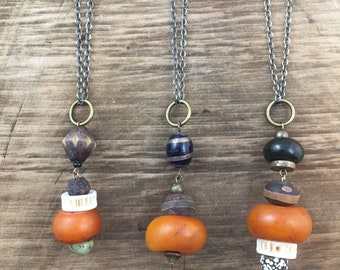 Tibetan Amber Talisman Stack Necklaces ~ Your Choice of Three
