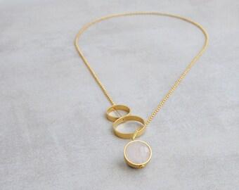 Rose quartz necklace, Lariat necklace, Rose quartz pendant necklace, Love stone necklace, Long gemstone necklace, Gemstone Y necklace