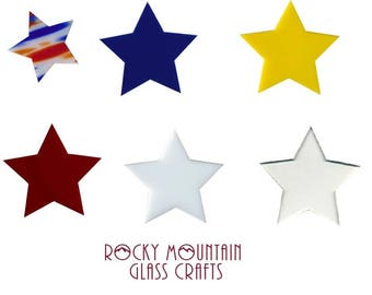 STARS! 96 COE 1 2 3 inch Fusing Glass Supplies Red Yellow Blue Clear White Philly Spectrum System 96 COE One Piece