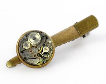 Steampunk Antique Watch Movement Bronze Alligator Hair Clip