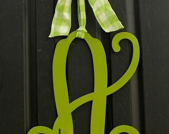 Initial Door Monogram Wreath - Door Wreath - Initial Monogram - Metal Monogram - Choose letter and bow color