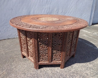 Anglo Indian Inlaid Carved Teak Table MCM Antique Tray Coffee Rustic Primitive Wood Bohemian Boho Persian Middle Eastern Cocktail Brass