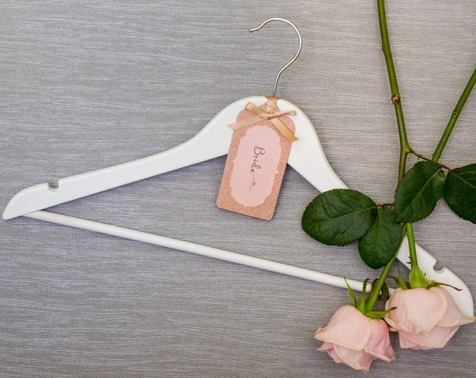 Wedding Hanger with Personalised Rose Gold Glitter Label