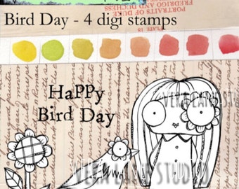 Bird Day - quirky gal with bird; four digi stamp set