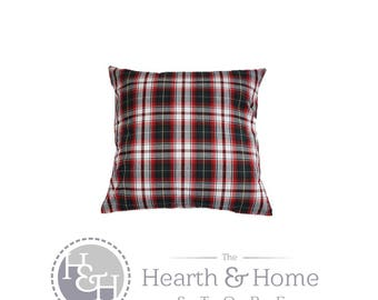 Holiday  White and Red Plaid  Decorative Throw Pillow Cover Christmas  Pillow , Red Green Plaid, Tartan Pillow Cover , Farmhouse Christmas