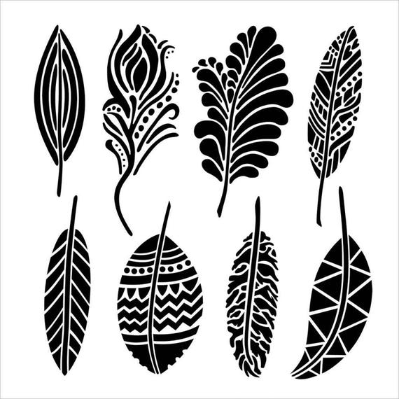 "Fancy feathers,12 x 12"" Stencil /  template a Dina Wakley design perfect for mixed media, scrapbooking, journaling and so much more"