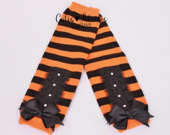 READY TO SHIP: Leg Warmers - Orange & Black Striped - Twinkling Trickster -  Witch Halloween Costume Accessory - One Size