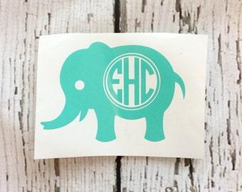 Elephant Monogram Decal // Monogram Elephant Decal // Elephant Decal // Car Decal // Water Bottle Decal
