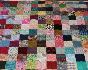 King Size Scrappy Patchwork Quilt - Custom Made to Order / Custom King Quilts